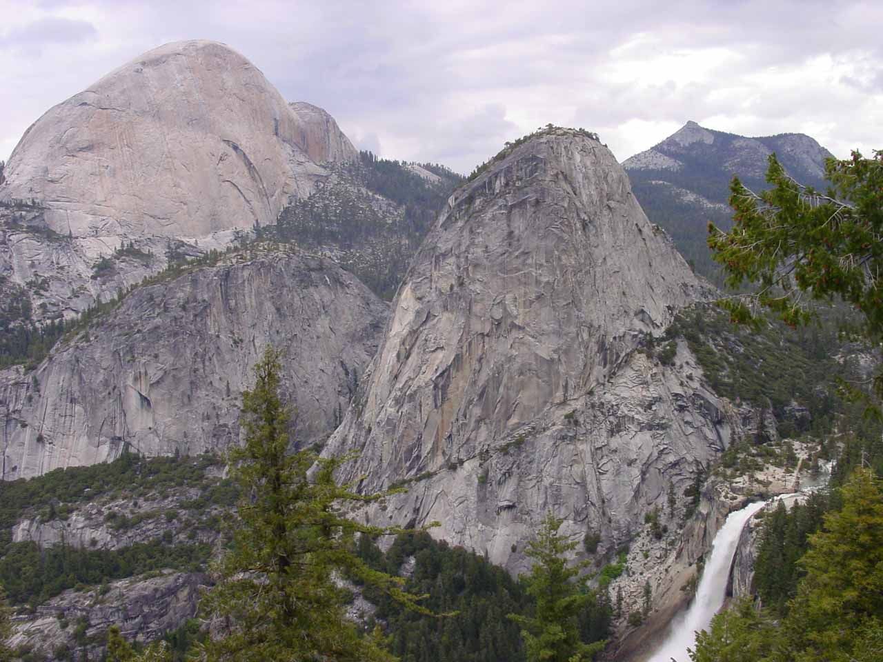 The backside of Half Dome with Nevada Fall and Liberty Cap as seen from the Panorama Trail