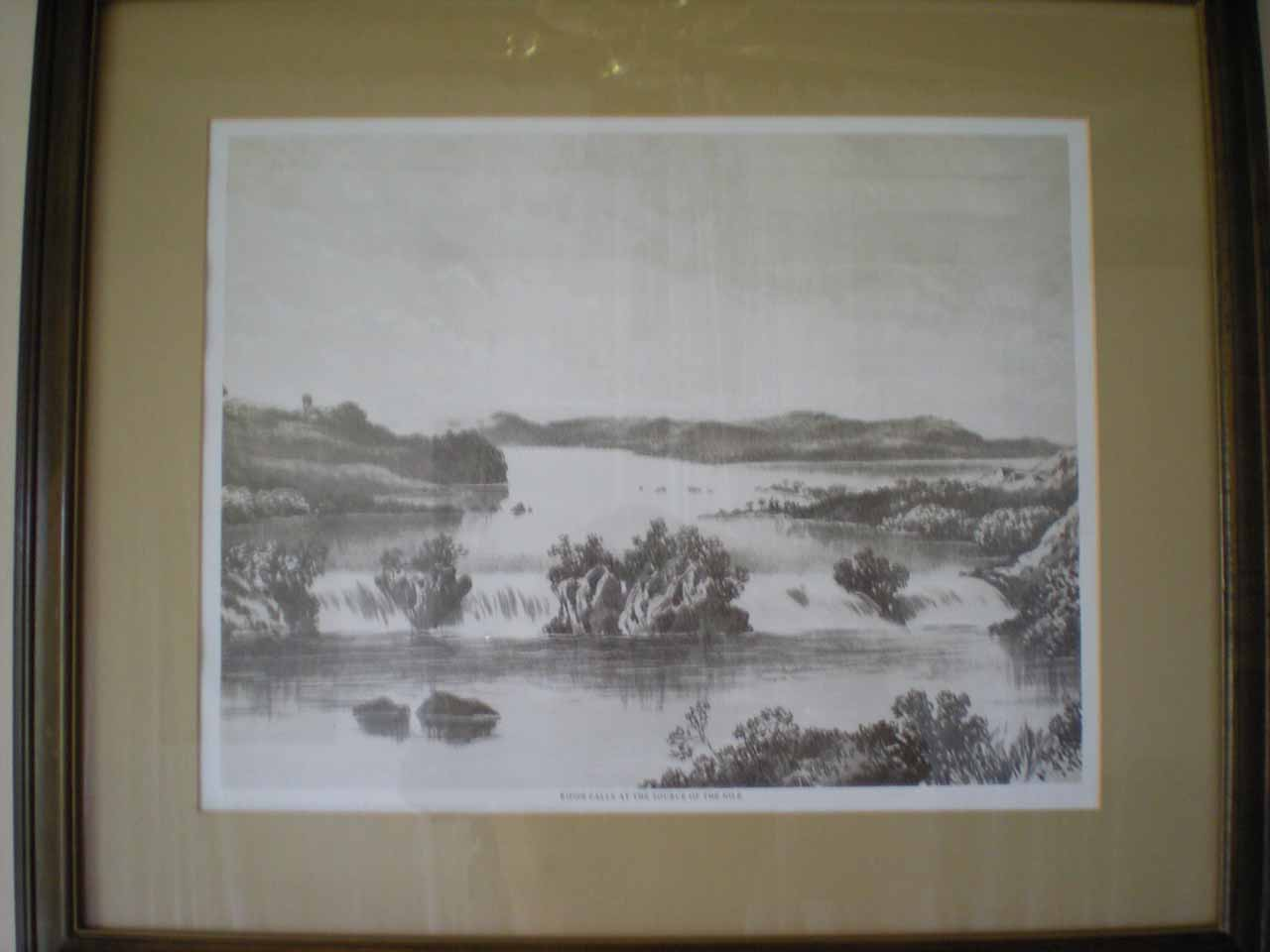 This was a drawing of Rippon Falls at the Source of the Nile before it was destroyed by the Owen Falls dam