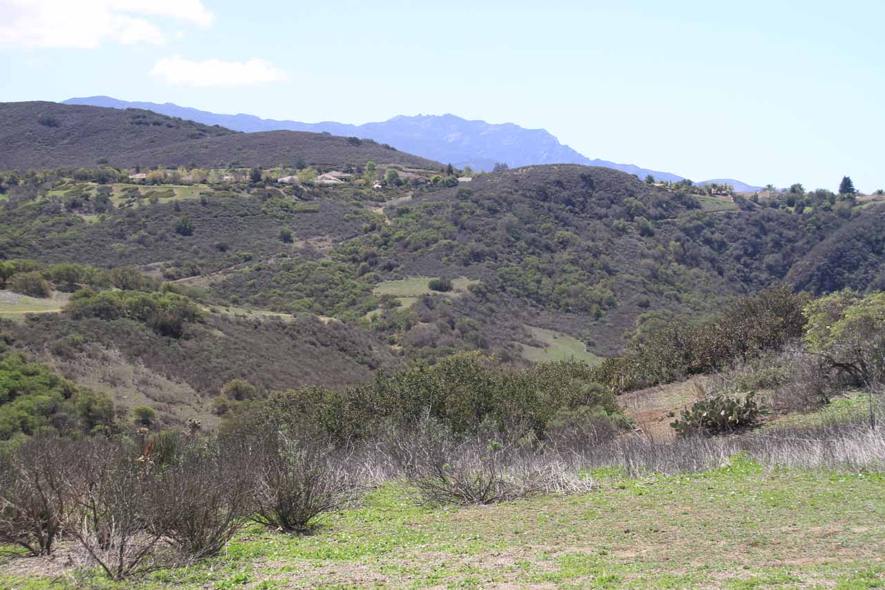 Looking towards Wildwood Canyon from the car park