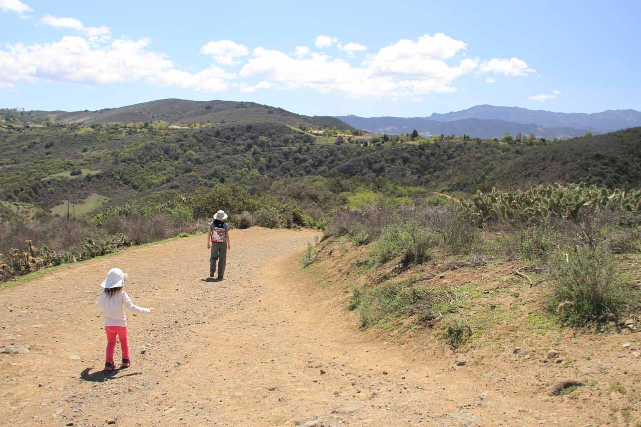 Tahia catching up to Julie as the trail going downhill into Wildwood Canyon