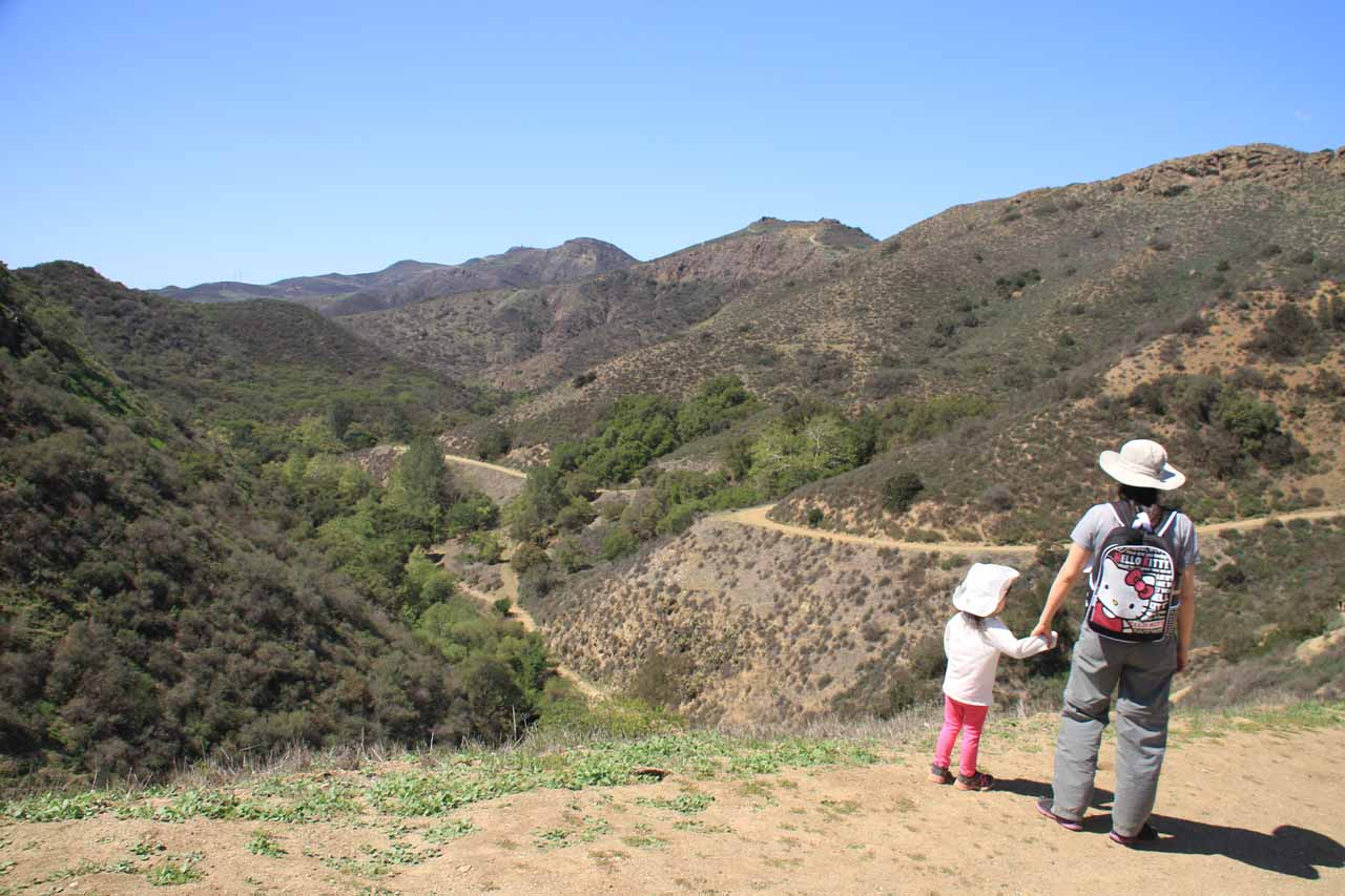 Julie and Tahia looking towards Wildwood Canyon