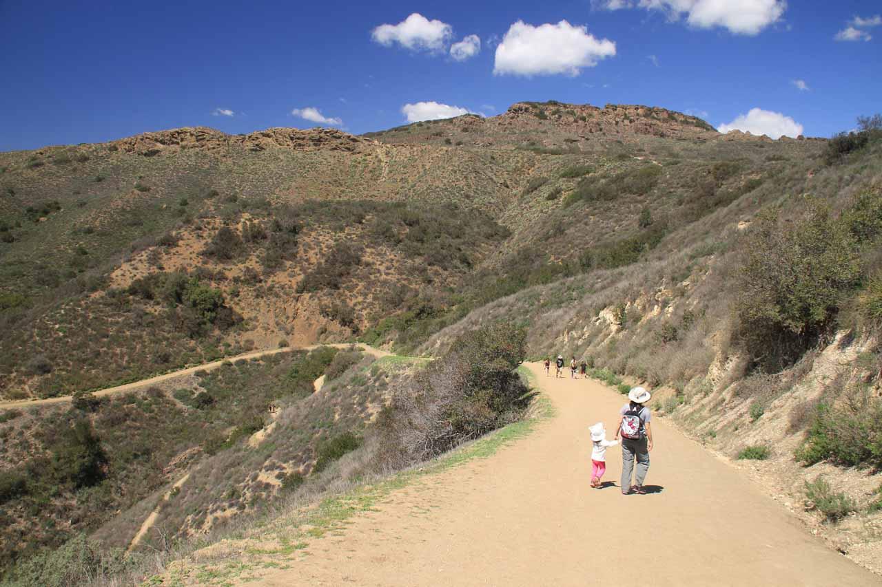 Julie and Tahia making their way down into Wildwood Canyon