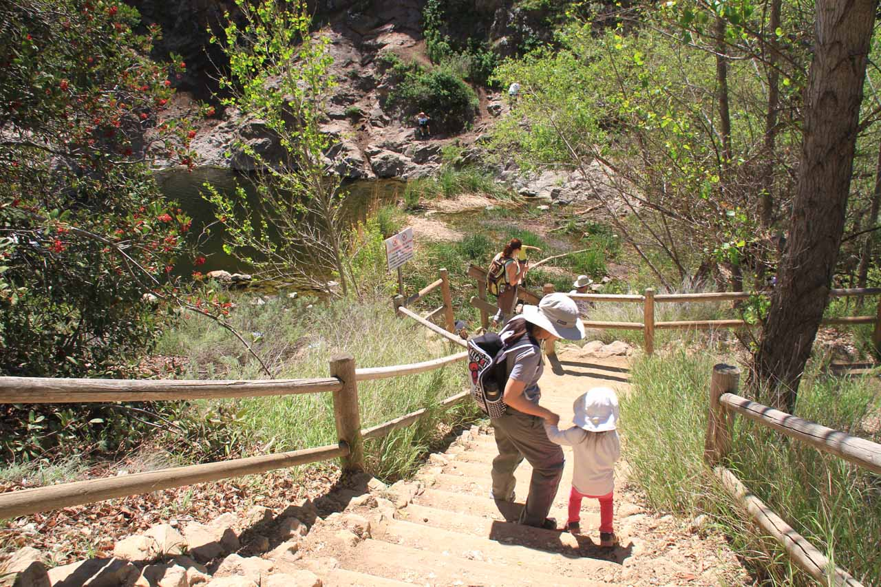 Julie and Tahia making their way down the steps to the base of Paradise Falls