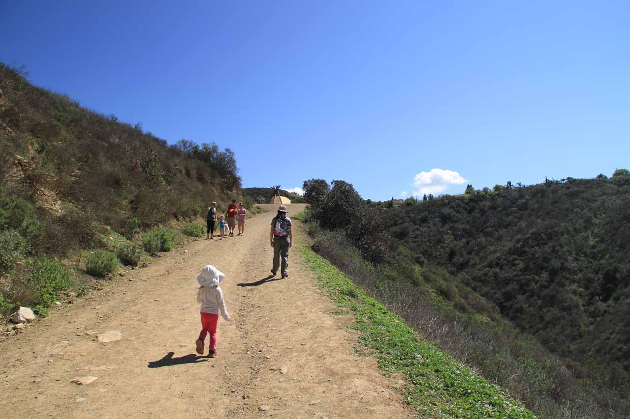 Tahia and Julie making their way up to the tee pee