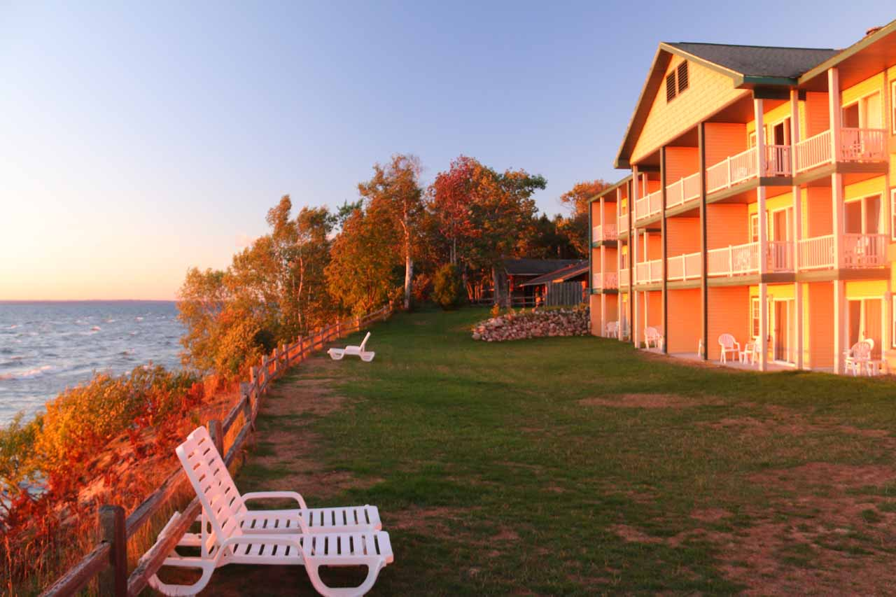 Warm glow shortly after sunrise from lakefront accommodation in Paradise, MI