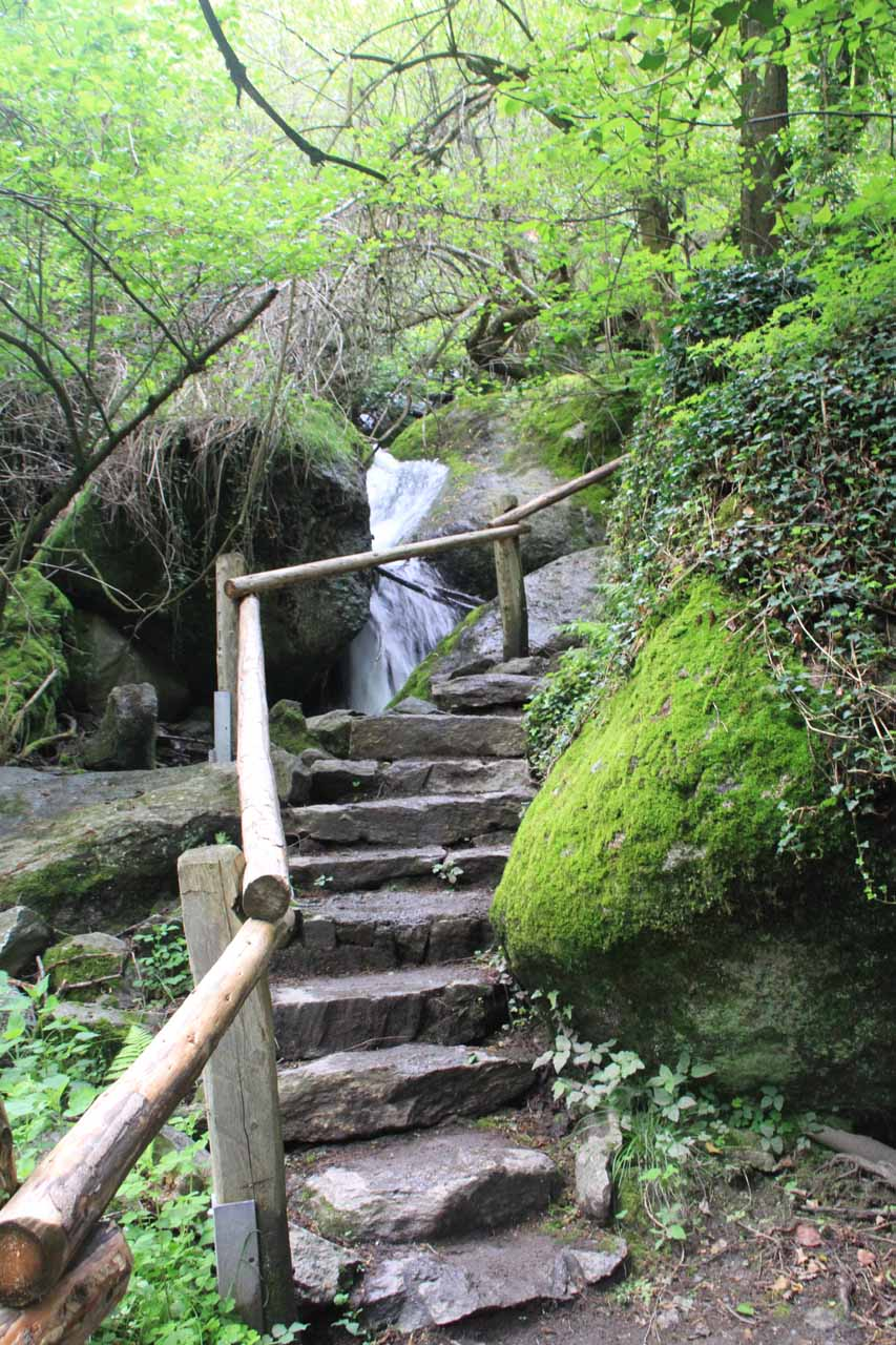 Going up the steps to the Gasthaus Wasserfall