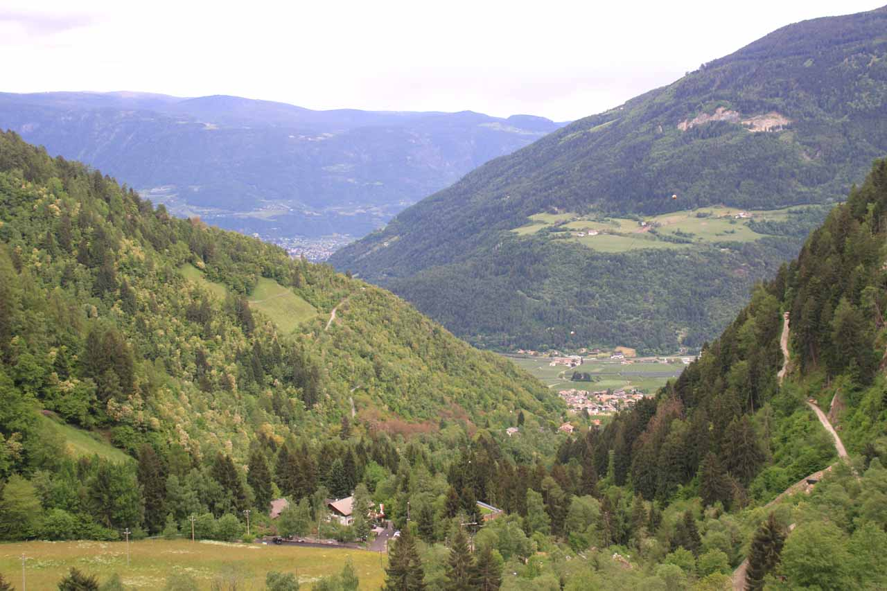 Looking down towards the town of Parcines from the top of Cascata di Parcines