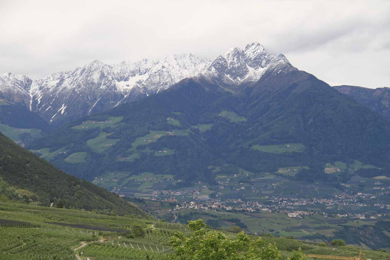 More focused look at Merano and the high mountains towering over it
