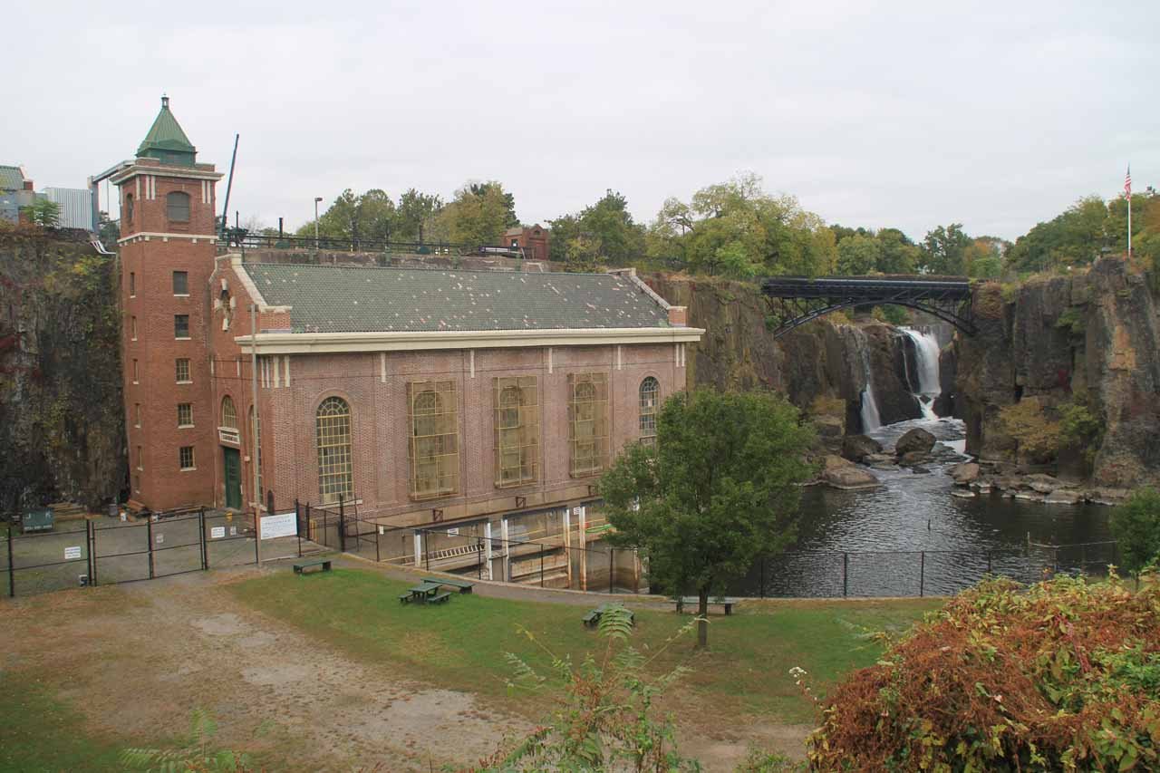 Our first look at Passaic Falls with the SUM hydro plant to the left