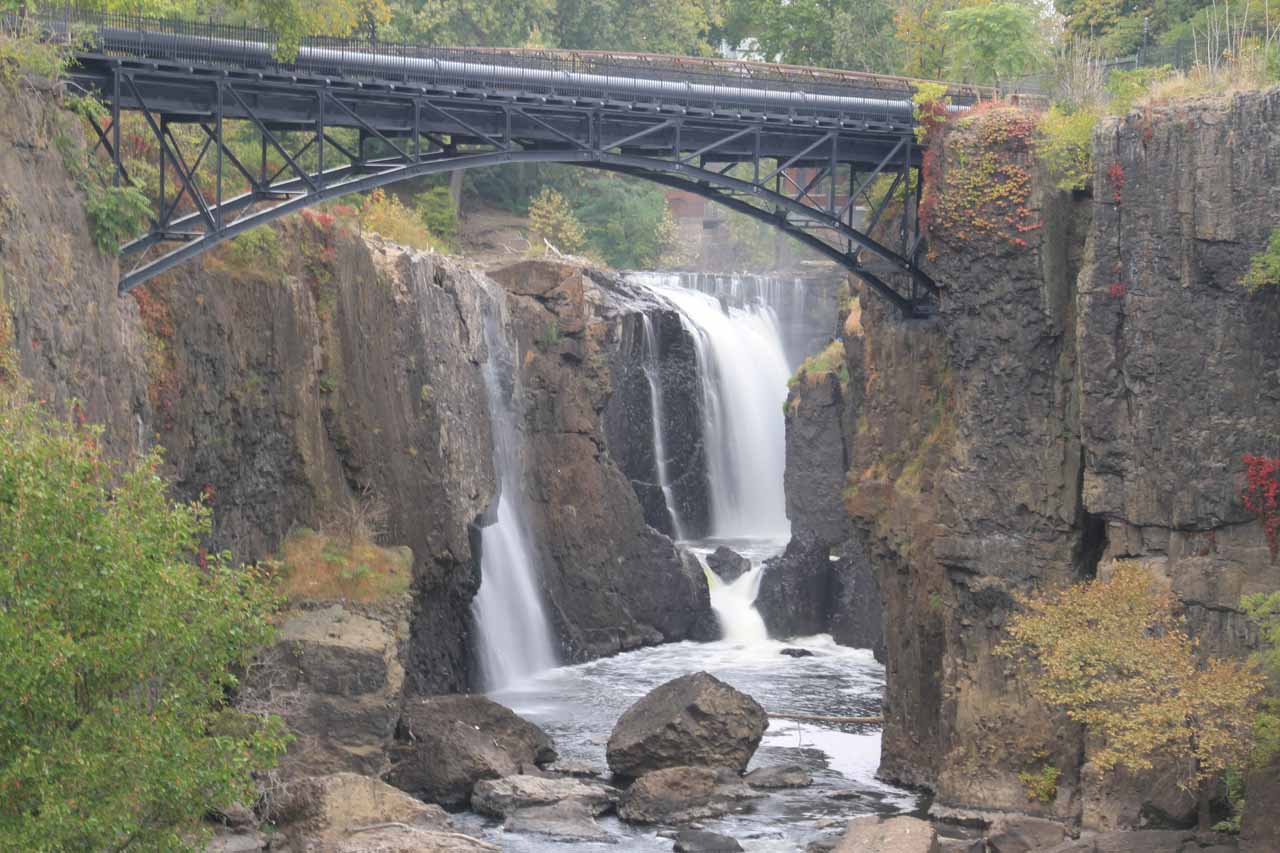 Long exposed zoomed in view of Passaic Falls while looking up the gorge from the main overlook