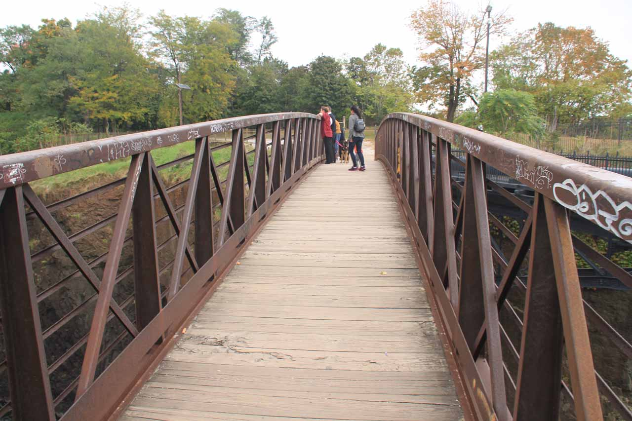 On the bridge spanning the gorge with a nice frontal view of Passaic Falls