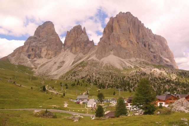 Passo_Sella_010_07172018 - The Cascate del Pisciadu was north of the scenic Sasso Lungo Group, which was this gorgeous trio of monoliths acting as one of the iconic formations of the Dolomites of Northern Italy