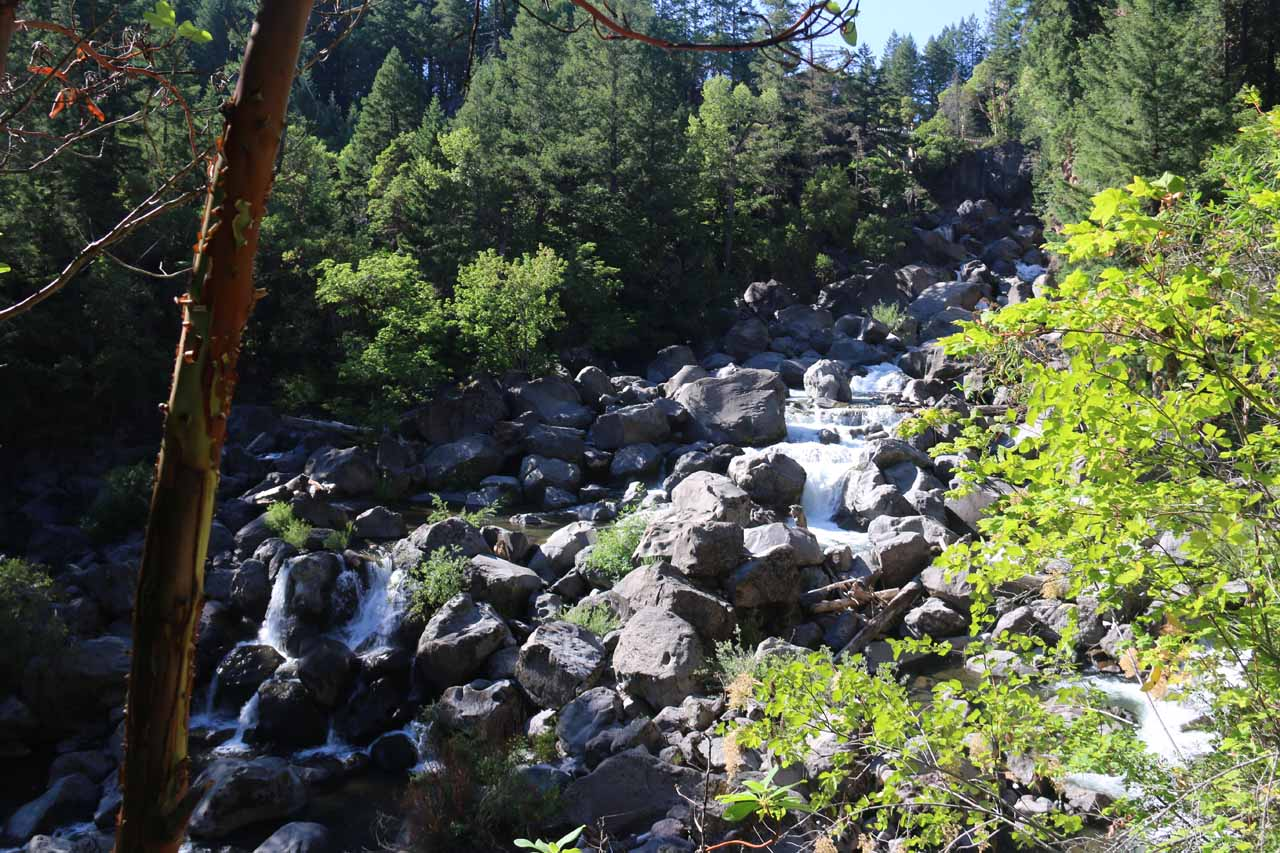 This was the Avenue of the Giant Boulders, where the Rogue River barreled its way through this jumble of huge boulders said to have been thrown by the Mt Mazama eruption 7,700 years ago