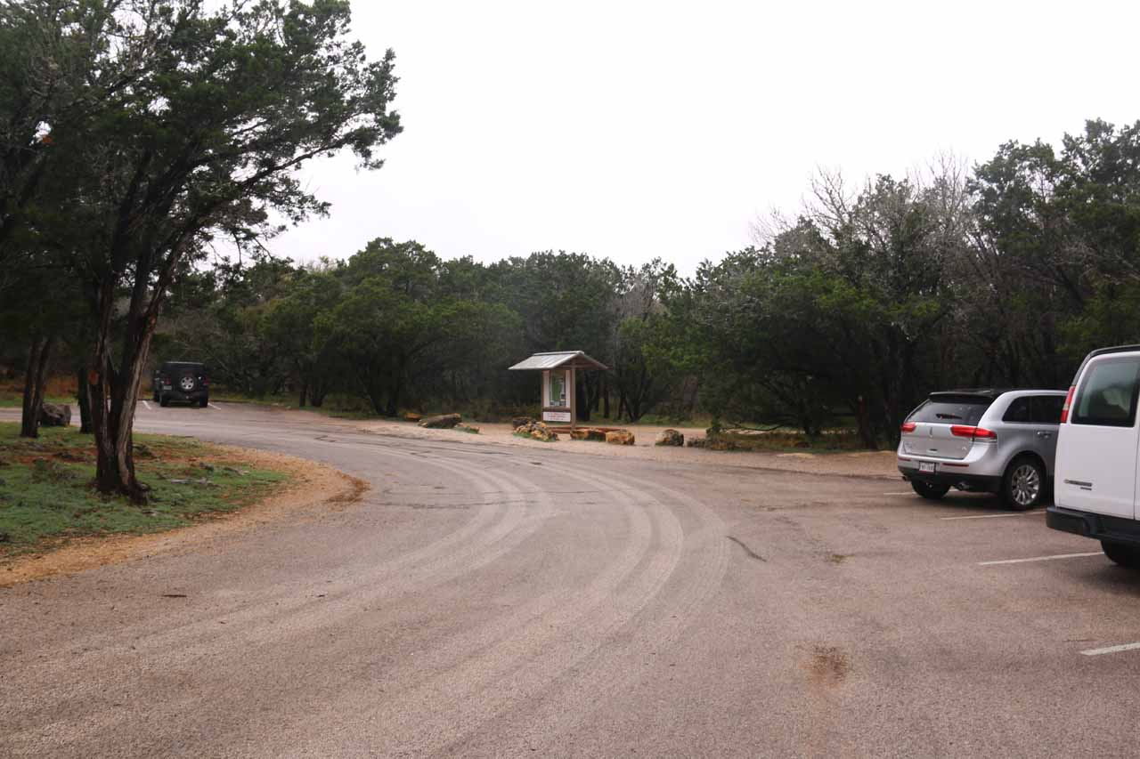 The car park and trailhead for Pedernales Falls