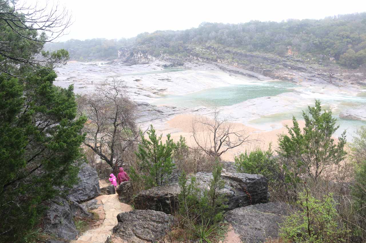 Tahia and Julie descending below the main lookout towards the banks of the Pedernales River