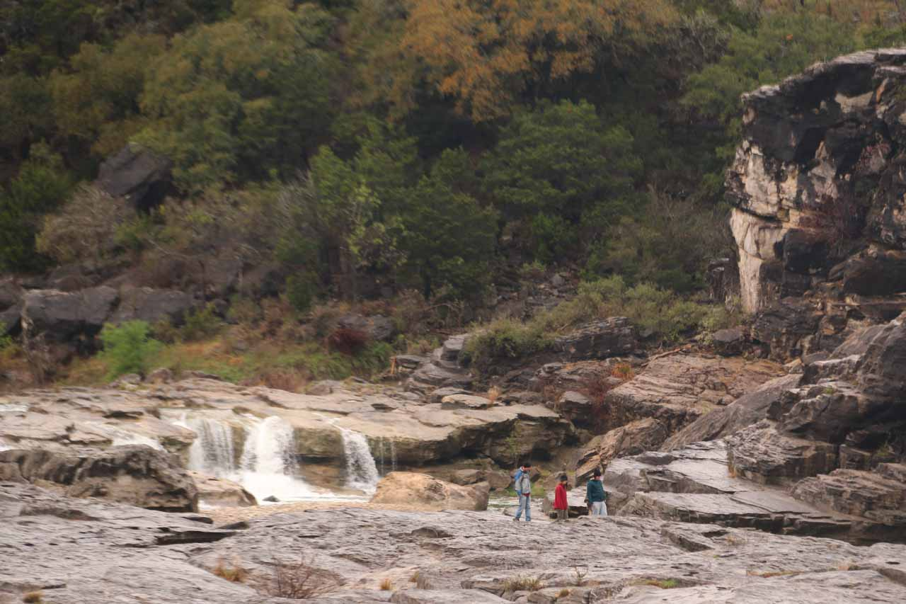 Looking back towards the uppermost tier of Pedernales Falls where some folks managed to make the scramble for a closer look