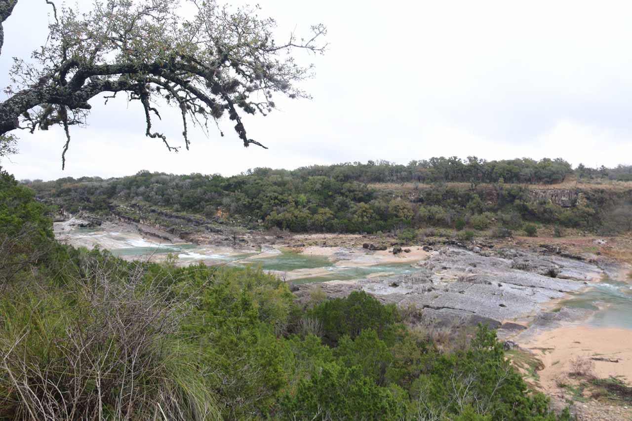 This wide view came from the other lookout for Pedernales Falls (near the end of the trail that forked right at the junction)