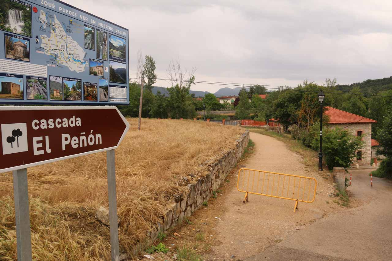 Passing by this sign that might suggest that the Cascada de Pedrosa de Tobalina might also be called Cascada El Penon
