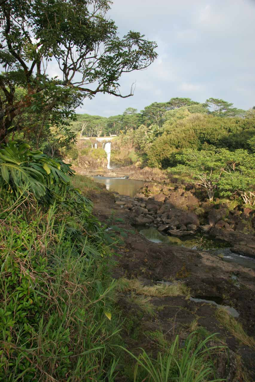 Distant look at Pe'epe'e Falls from the overlook