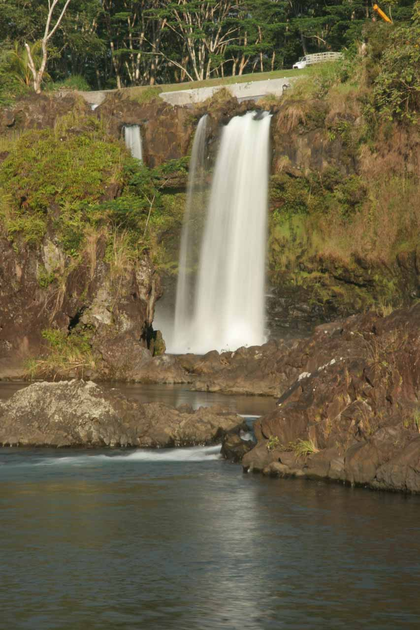 Zoomed in on a distant view of the Pe'epe'e Falls