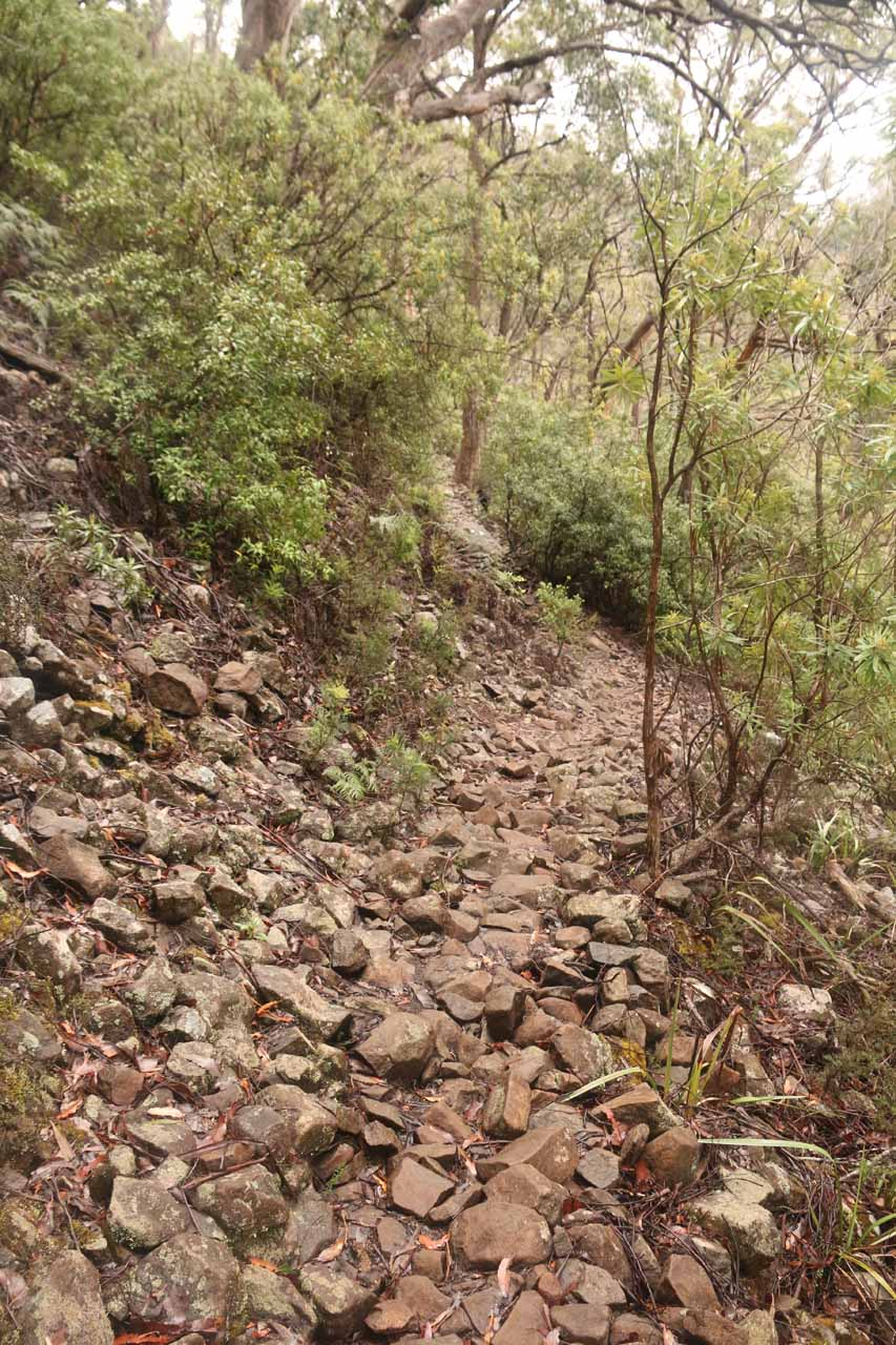 Continuing on the precarious footing of the loose rocks as the track started climbing again