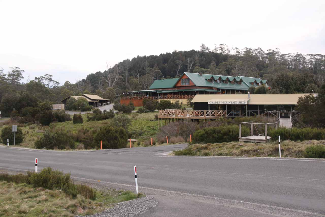 Looking back at the Cradle Mountain Lodge and the Cradle Mountain Shop
