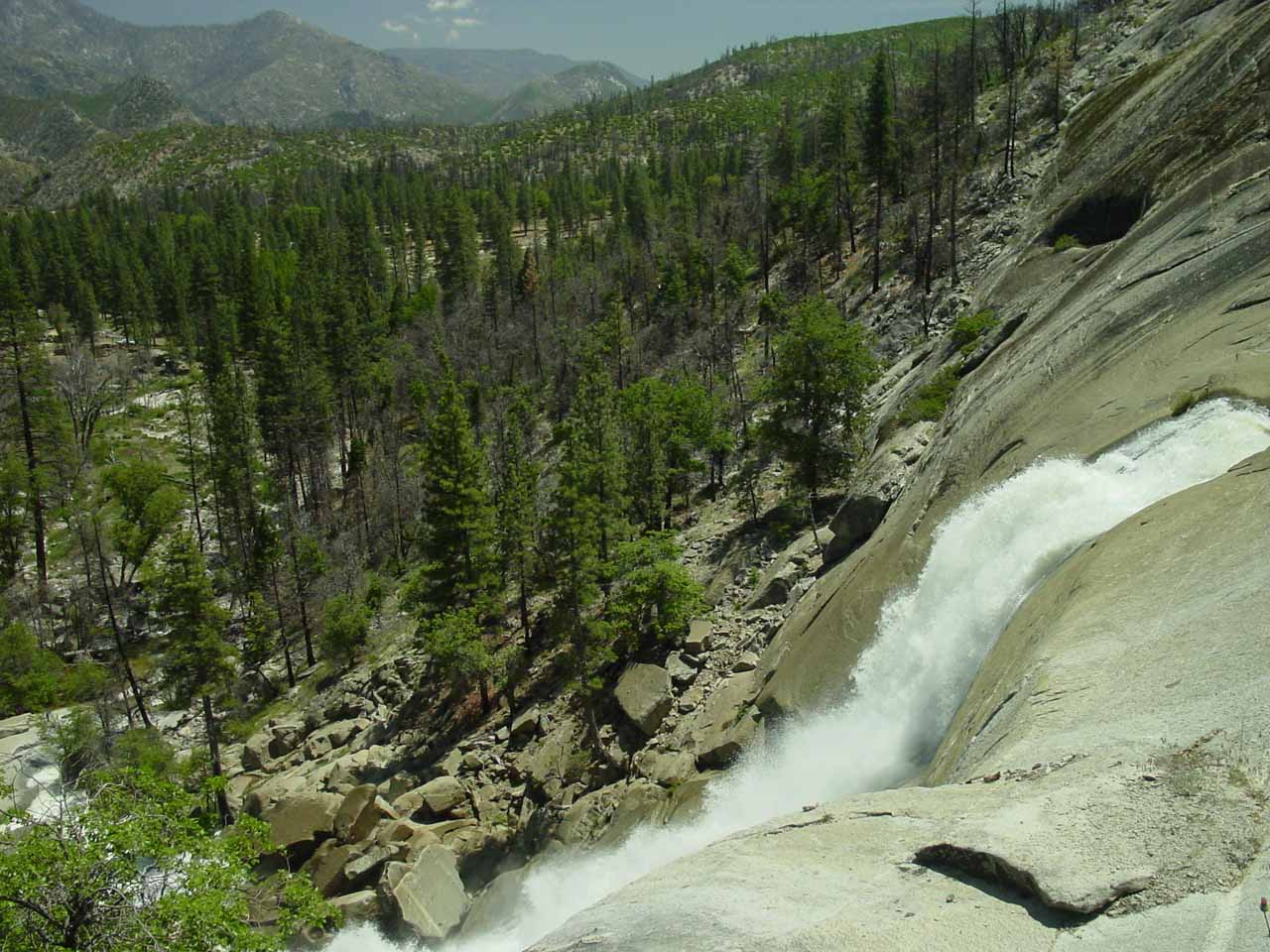 Looking over the brink of Peppermint Creek Falls towards the Dome Land Wilderness