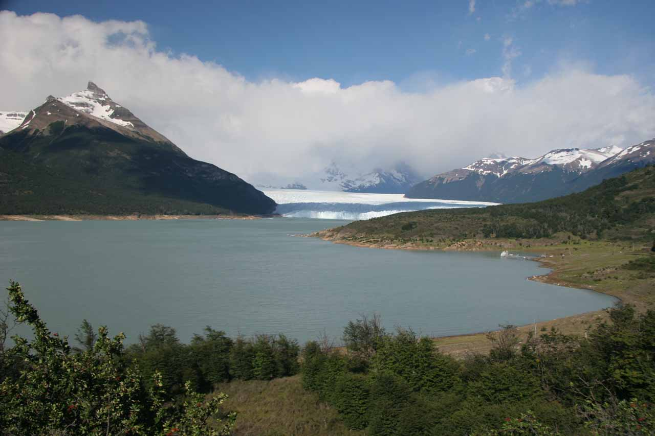 Our first glimpse of the Perito Moreno Glacier