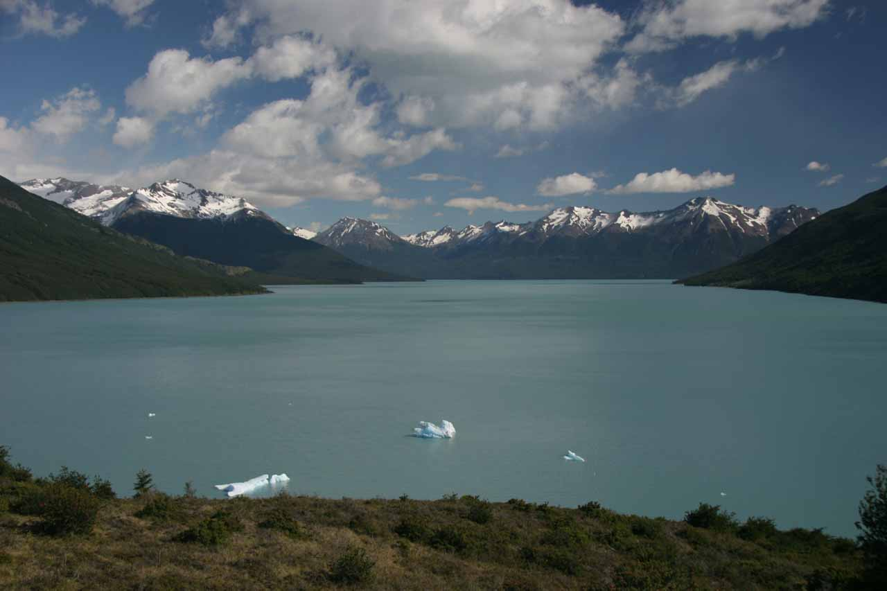 The head of Lago Argentino with a few stray icebergs
