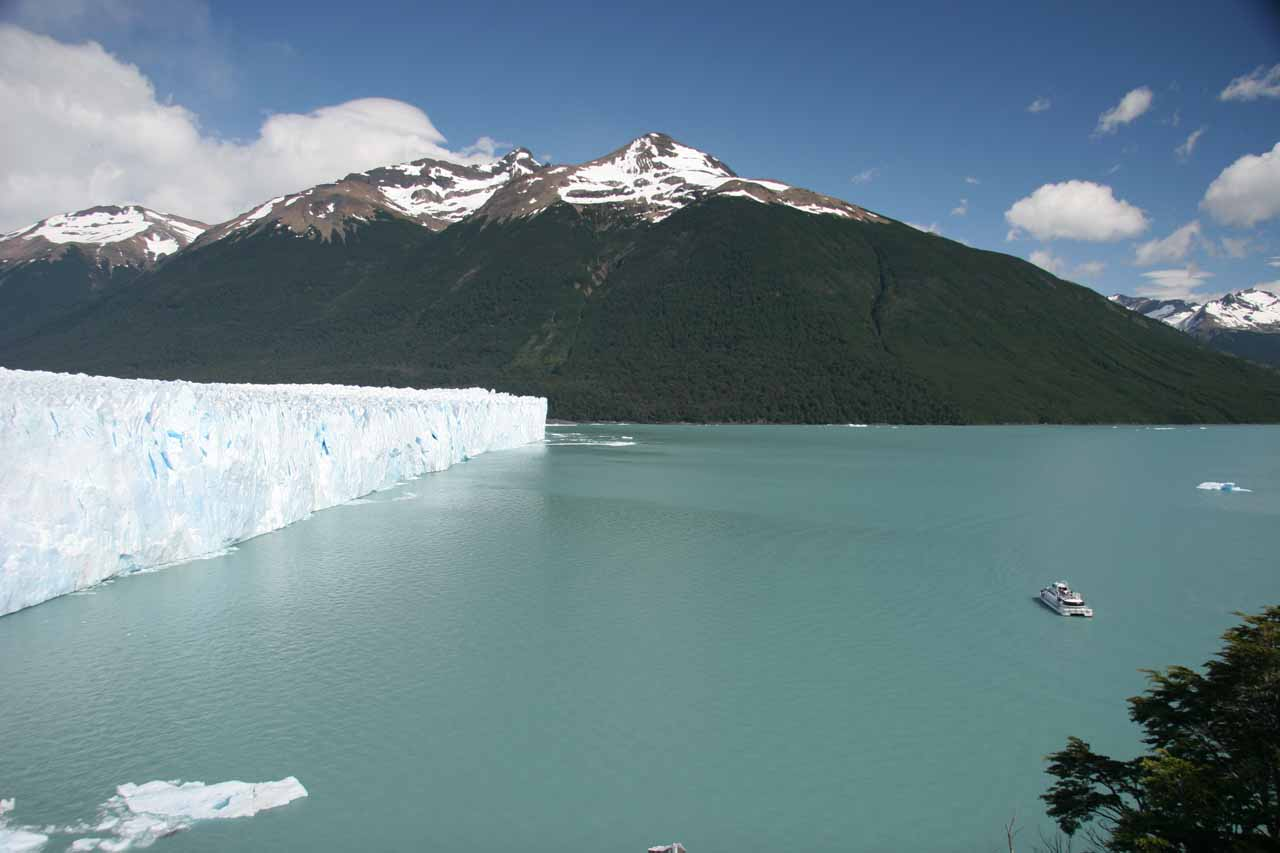 This photo gives you a sense of scale of how tall the glacier terminus of Perito Moreno is as it towers over the boat on the right side