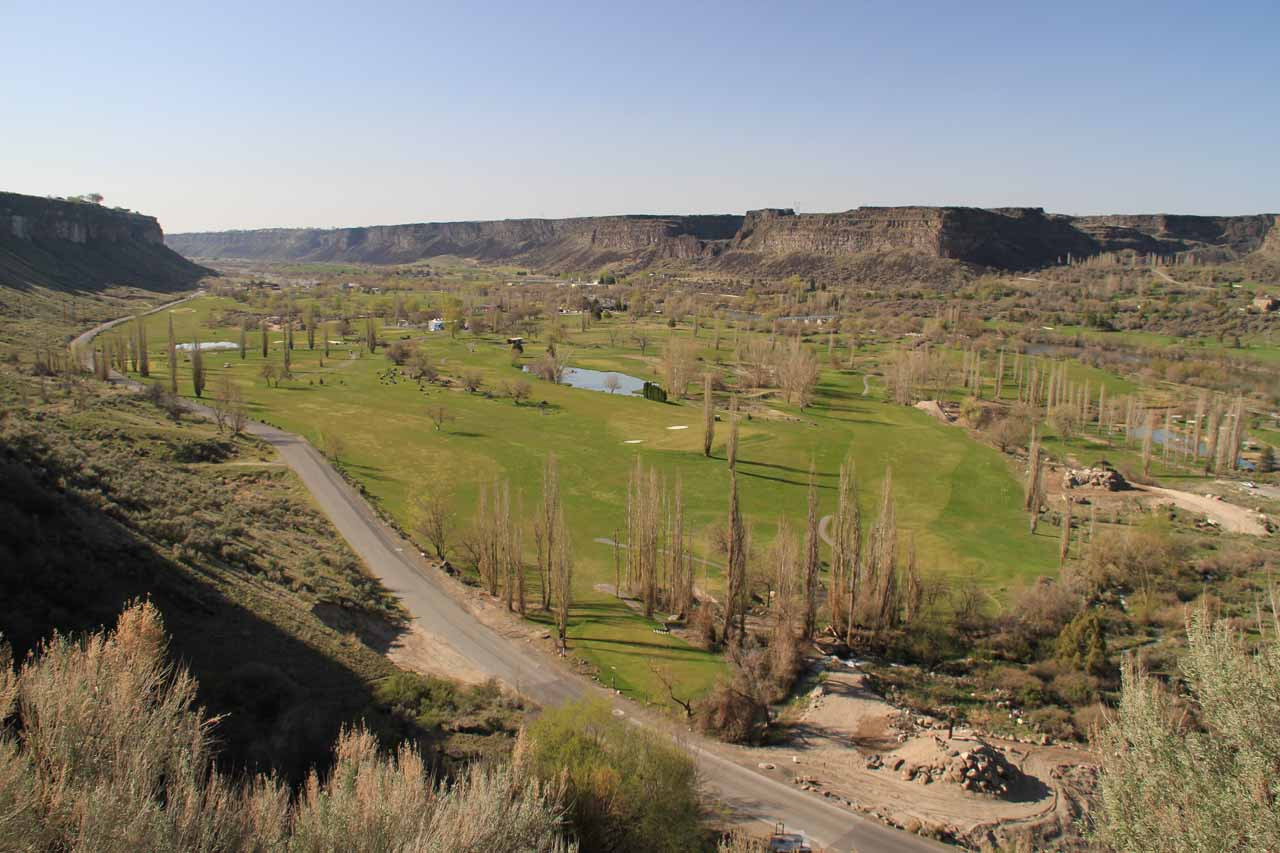 Late afternoon view of the Snake River Canyon and the Blue Lakes Country Club from the Perrine Coulee Falls access on Canyon Springs Road