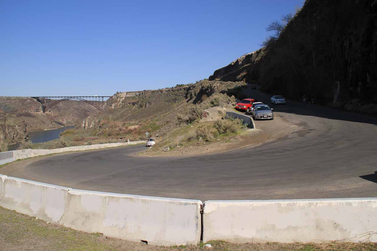 The hairpin turn on Canyon Springs Road by the access to the base of Perrine Coulee Falls