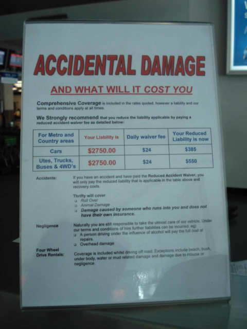 A sign talking about the cost of accidental damage at one of the rental car agencies we booked with in Australia back in June 2006