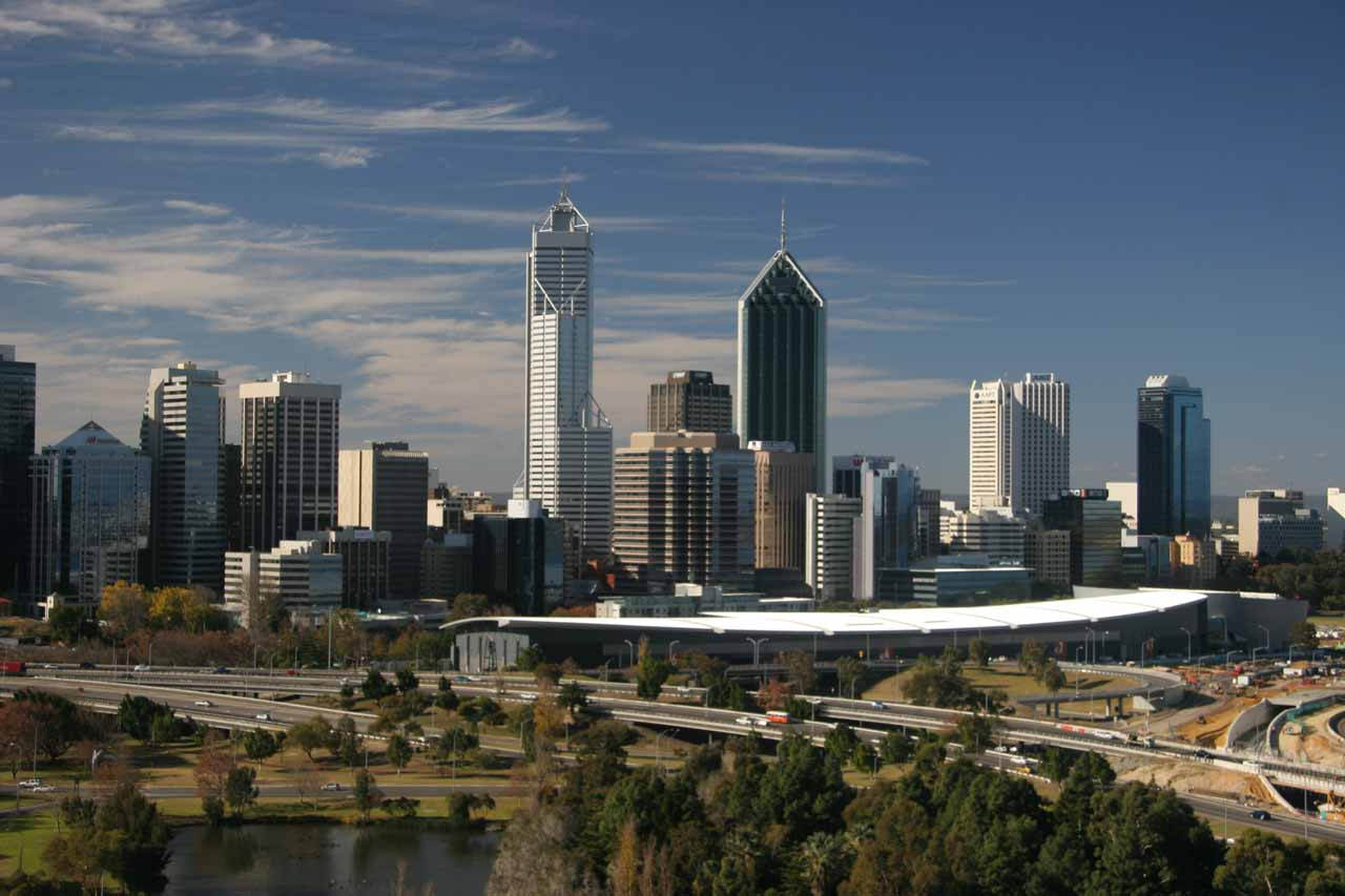 Checking out the Perth Skyline