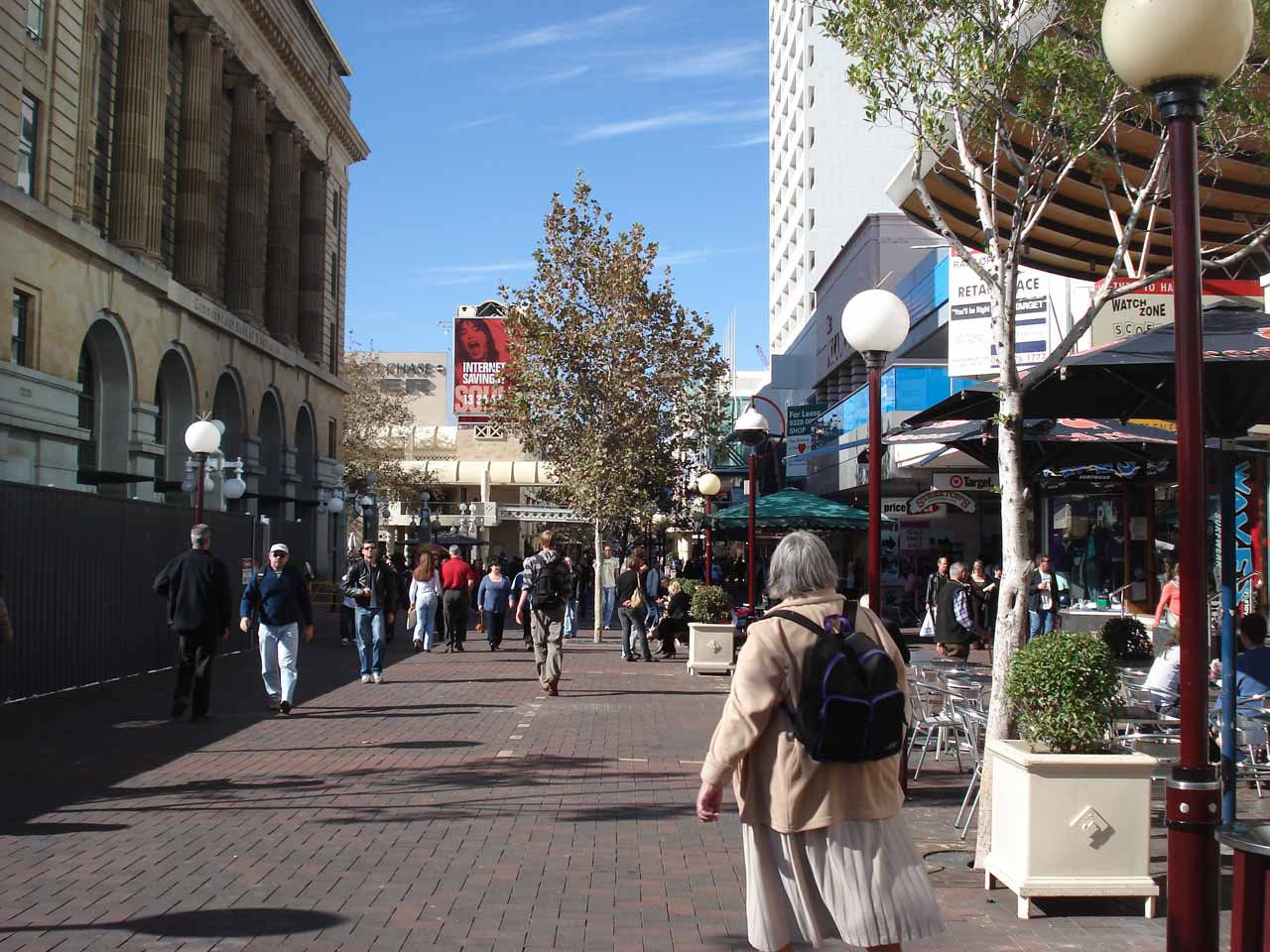 Walking about in the shopping arcade of the Perth CBD