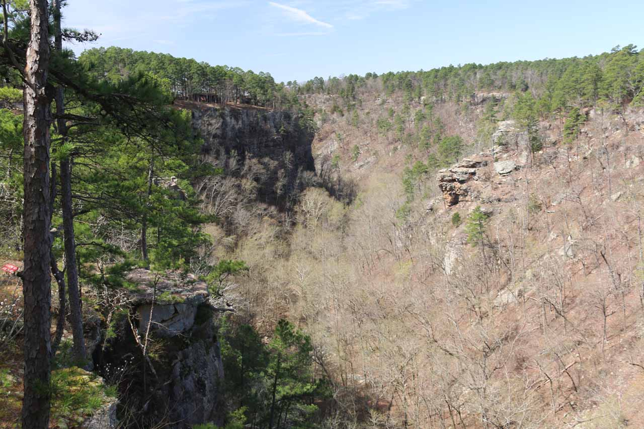 Looking downstream in the direction of the Mather Lodge from the Cedar Falls Overlook