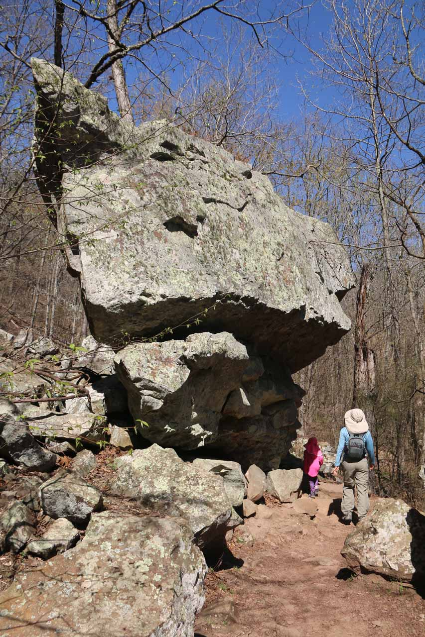 The trail passed by some very interesting rock formations like this seemingly balanced rock
