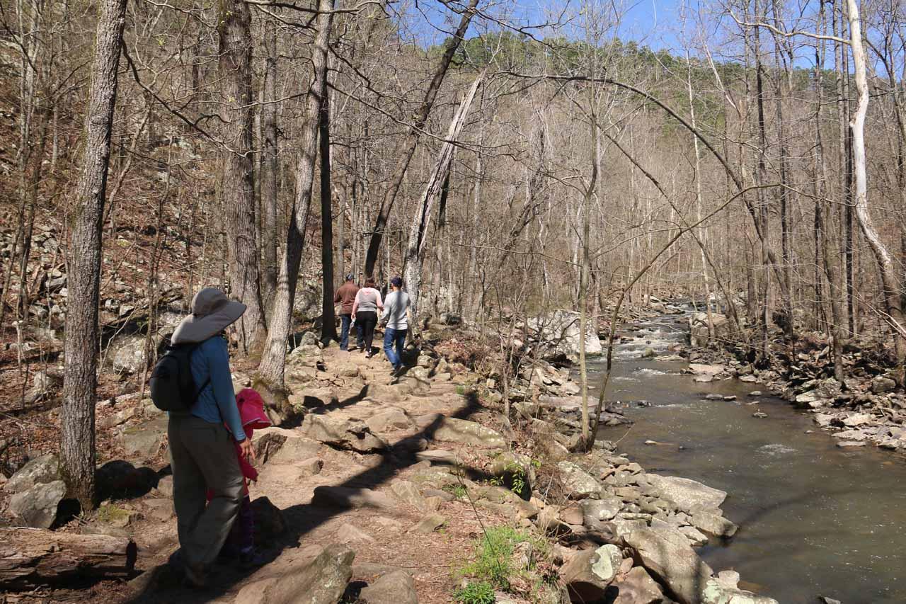 The Cedar Falls Trail continued following alongside the north side of Cedar Creek
