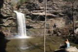Petit_Jean_SP_247_03162016 - Someone sitting in solitude relaxed while staring at Cedar Falls