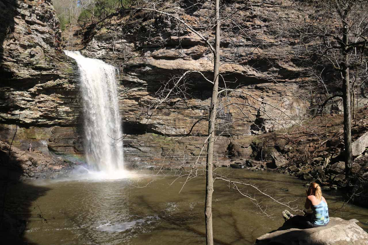 Someone sitting in solitude relaxed while staring at Cedar Falls