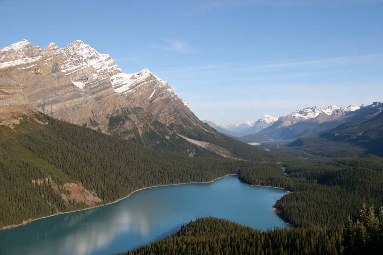 Morning view of Peyto Lake.  This very beautiful lake was a few minutes north of Bow Glacier Falls