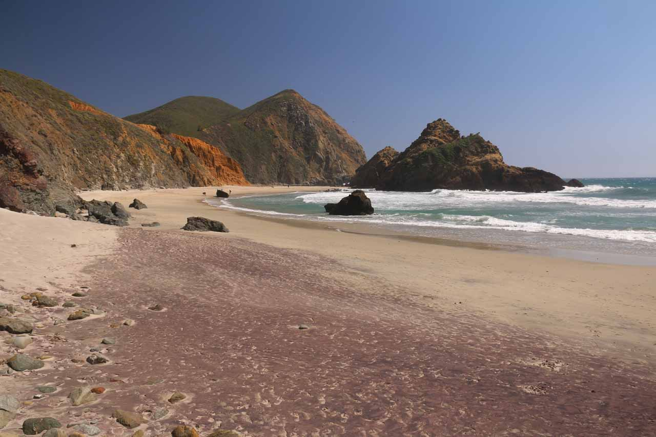 Roughly 11 miles north of Julia Pfeiffer Burns State Park was the beautiful Pfeiffer Beach, which featured purple sand, a few sea arches, and a nearly unspoiled stretch of sandy beach