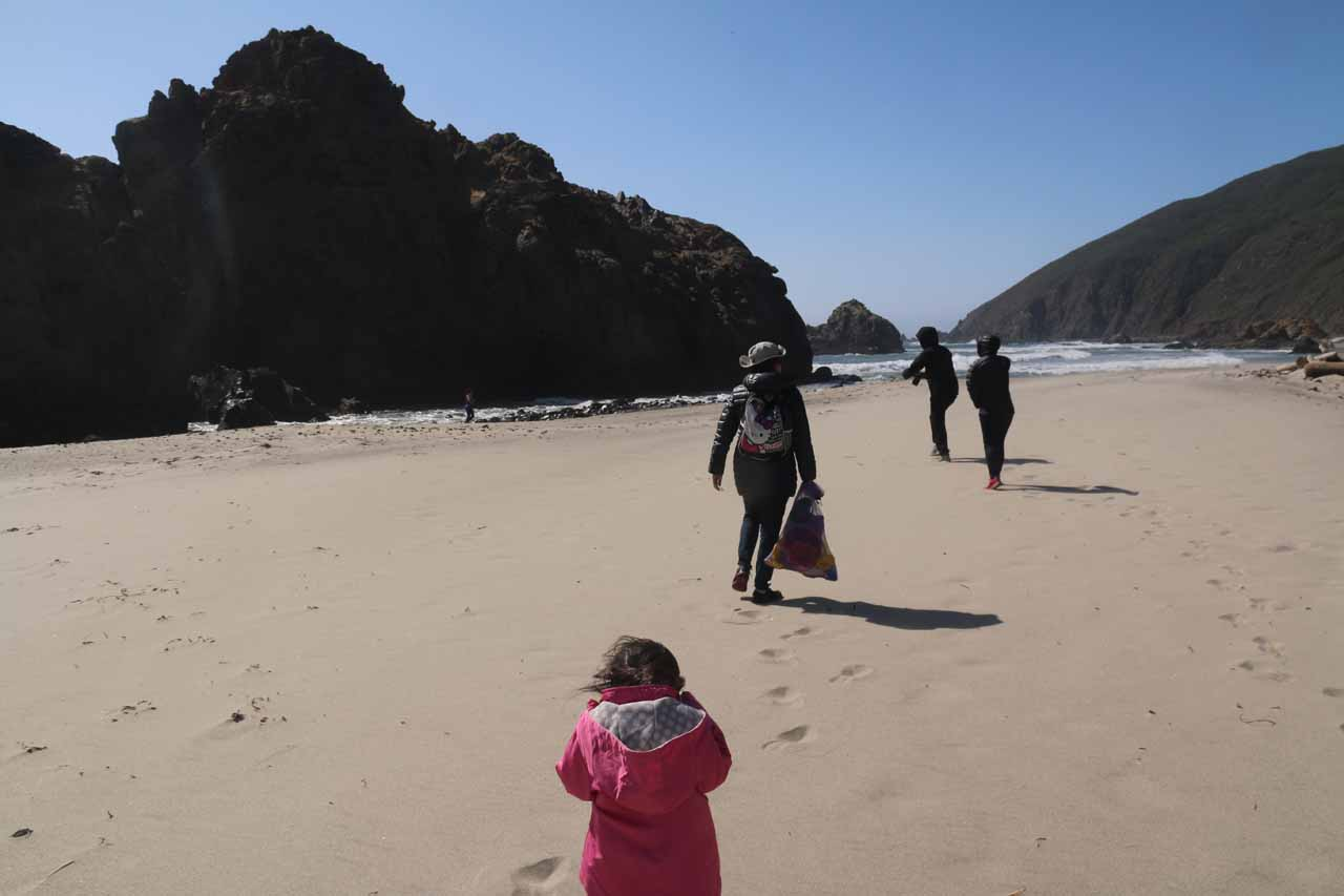 Julie leading us back towards the larger sea arch at Pfeiffer Beach, but Tahia was struggling with the winds