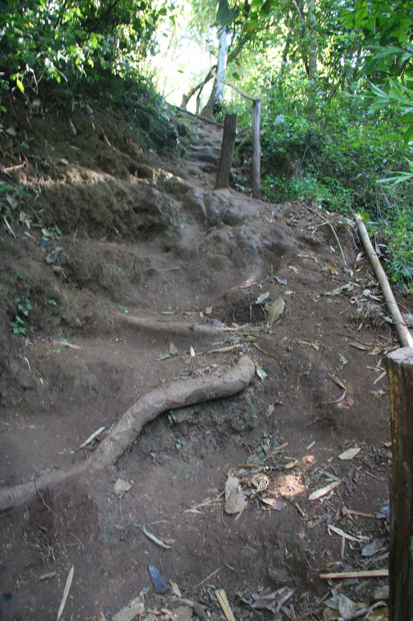 A potentially slippery and dangerous part of the steep climb