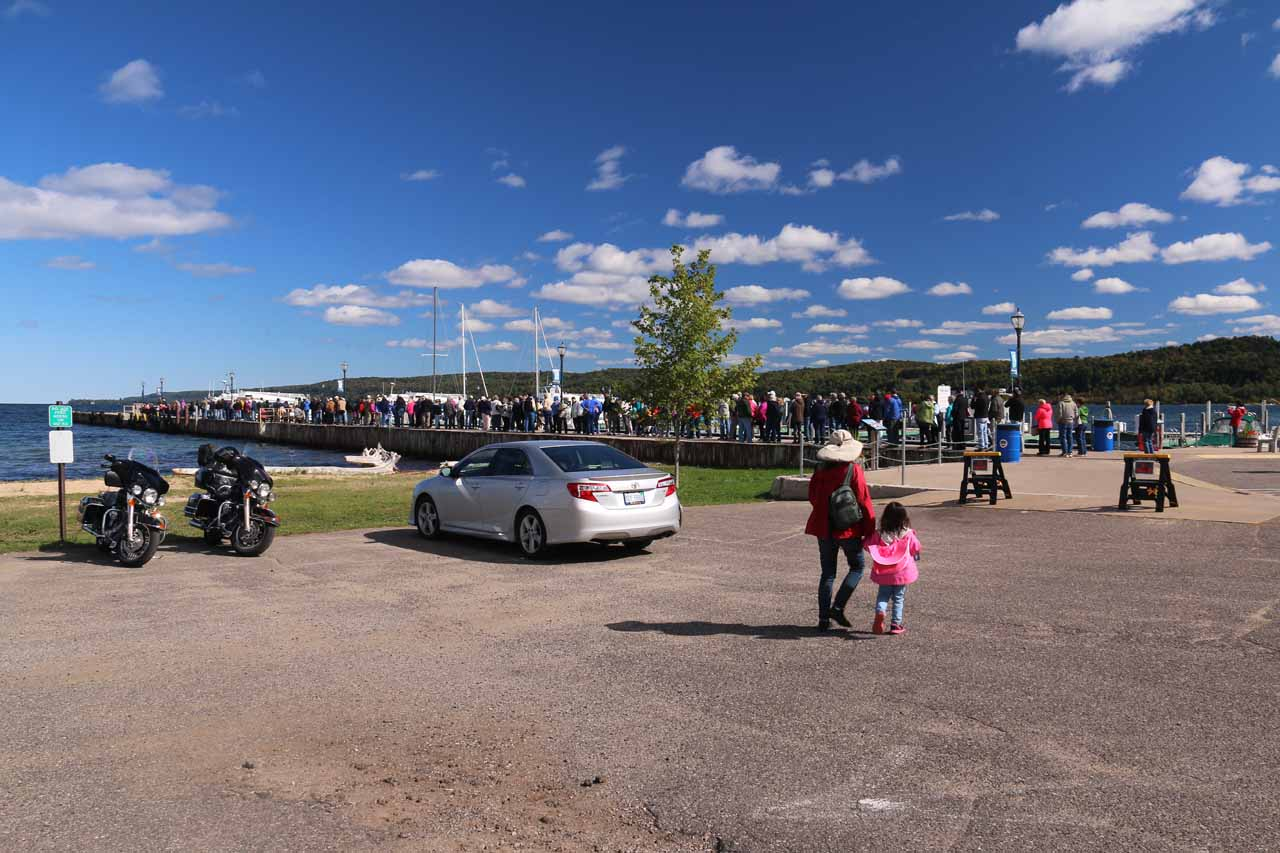 When we first showed up to the docks in Munising about 45 minutes early, there was already a huge line covering the entire dock!