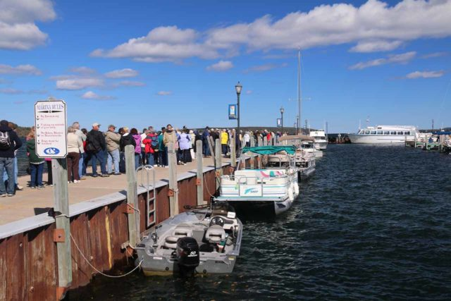 Pictured_Rocks_cruise_004_09302015 - Looking along the dock at the huge queue that had formed 45 minutes before our departure time for the Spray Falls Cruise