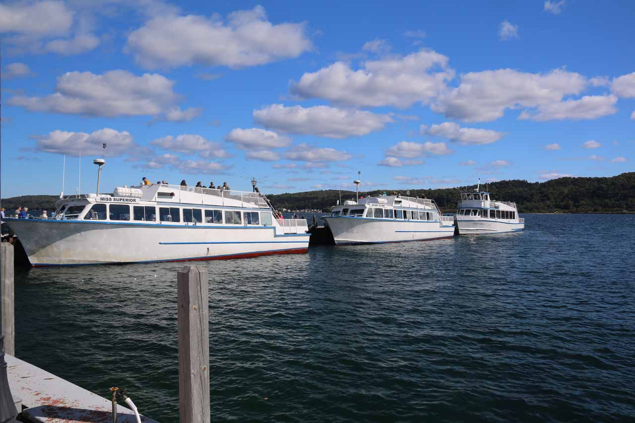 These boats were the cruise vessels that we'd ride in for our Pictured Rocks cruise