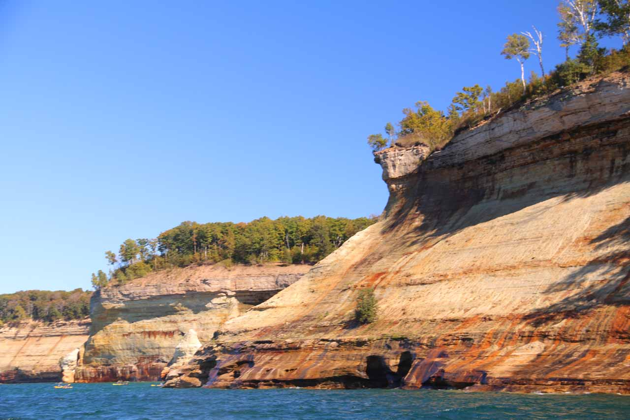This sloping cliff in the heart of the Pictured Rocks was where I believe the seasonal Bridal Veil Falls was supposed to be, but as you can see it wasn't flowing during our visit