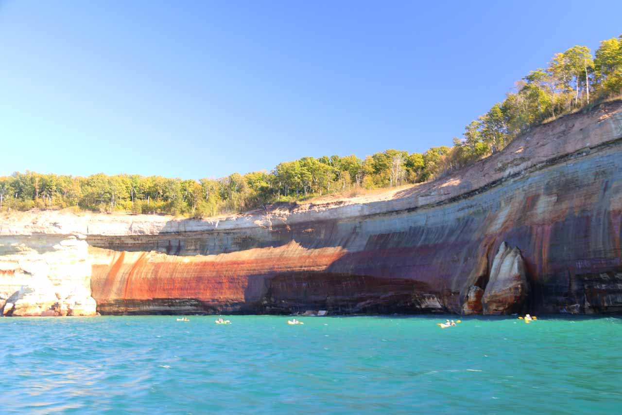 This long streak of red and orange cliffs was one of the more impressive parts of the Pictured Rocks