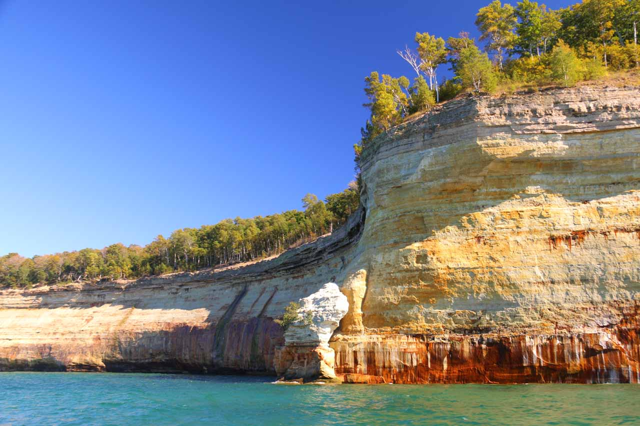 Another impressive part of the Pictured Rocks showing just how sheer and colorful these cliffs were